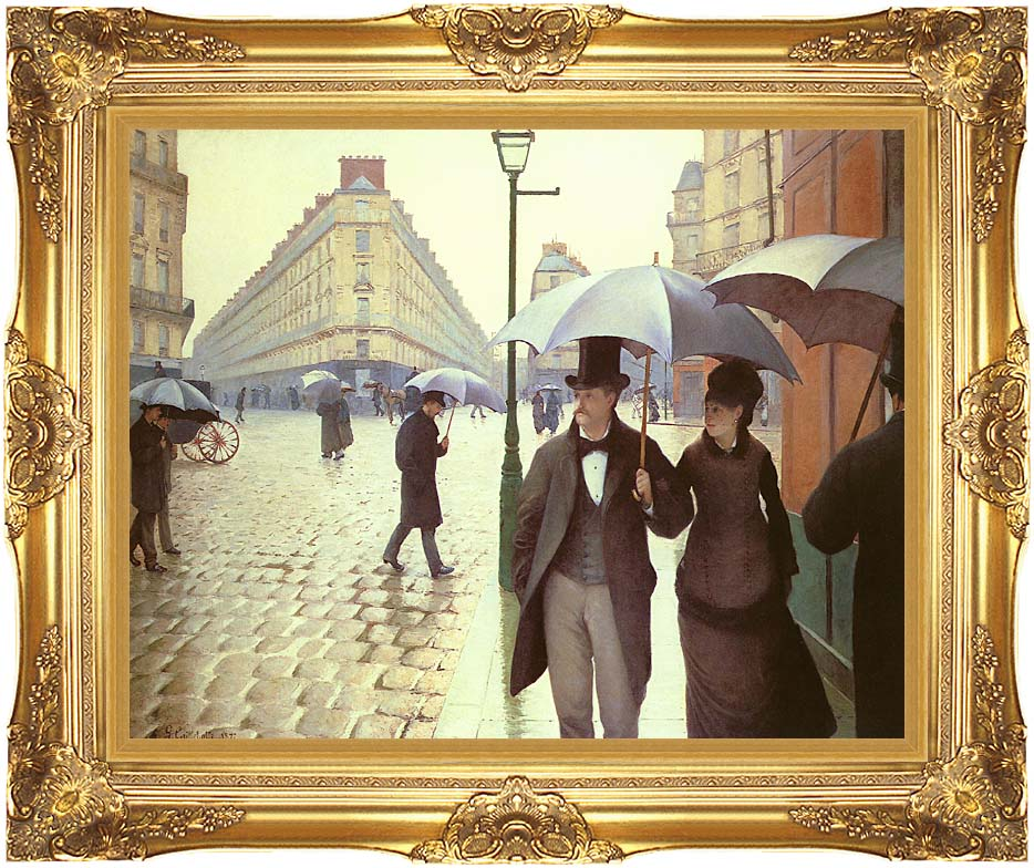 Gustave Caillebotte Paris, A Rainy Day with Majestic Gold Frame