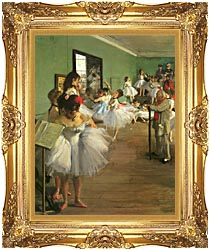 Edgar Degas The Dance Class canvas with Majestic Gold frame
