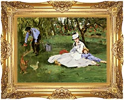 Edouard Manet The Monet Family In Their Garden At Argenteuil canvas with Majestic Gold frame