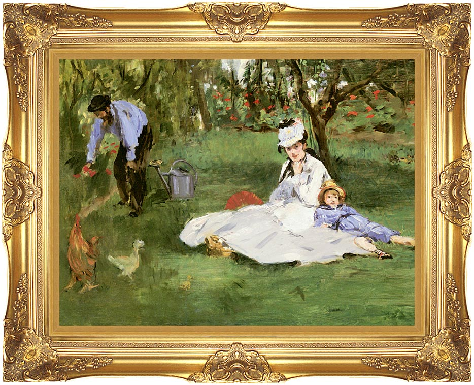 Edouard Manet The Monet Family in their Garden at Argenteuil with Majestic Gold Frame