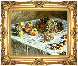 Claude Monet Still Life Apples And Grapes canvas with Majestic Gold frame