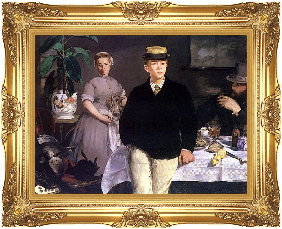 Edouard Manet Luncheon in the Studio with Majestic Gold Frame
