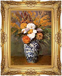 Paul Cezanne Dahlias In A Delft Vase canvas with Majestic Gold frame