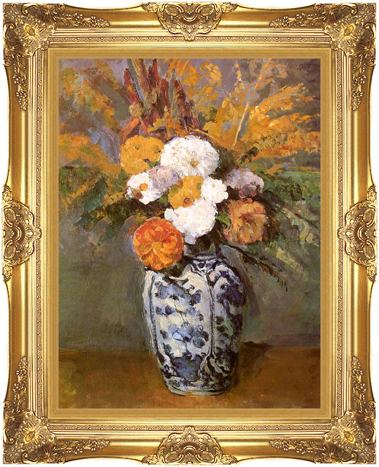 Paul Cezanne Dahlias in a Delft Vase with Majestic Gold Frame