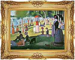 Georges Seurat Sunday Afternoon On The Island Of La Grande Jatte canvas with Majestic Gold frame