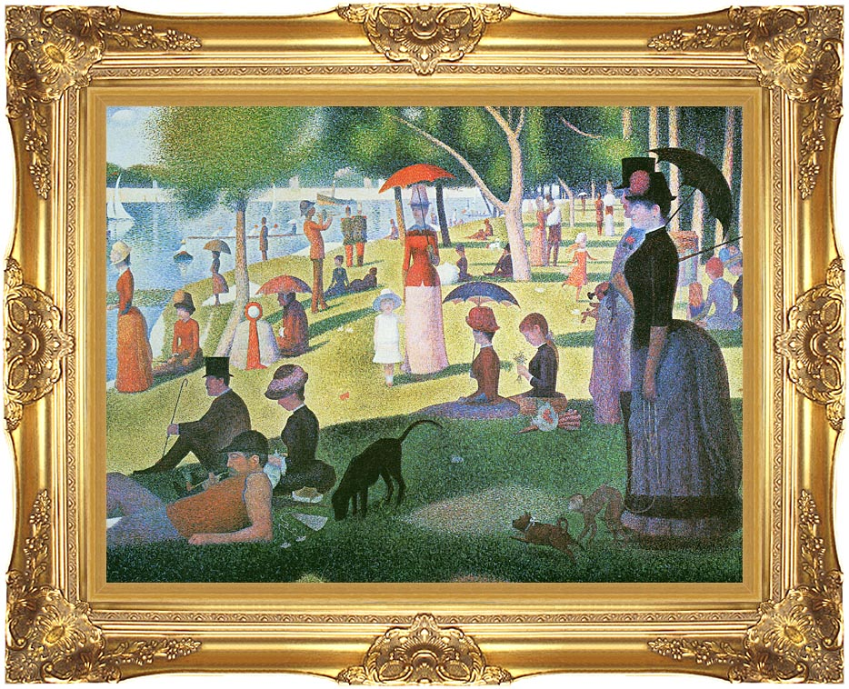 Georges Seurat Sunday Afternoon on the Island of La Grande Jatte with Majestic Gold Frame
