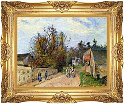 Camille Pissarro The Mailcoach   The Road From Ennery To The Hermitage canvas with Majestic Gold frame