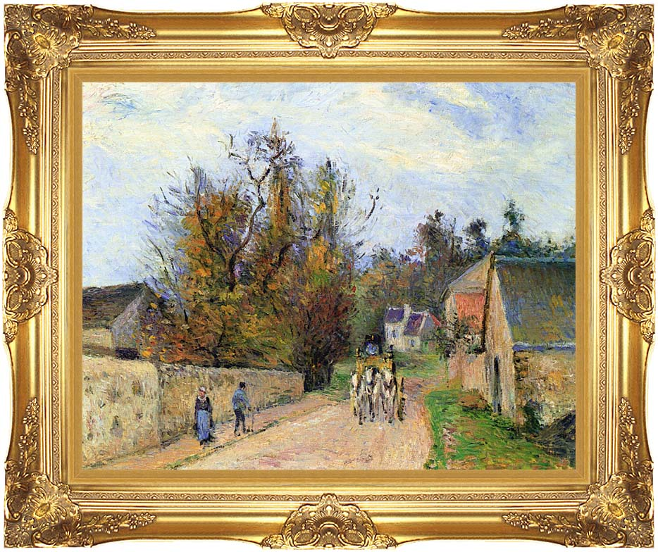Camille Pissarro The Mailcoach - The Road from Ennery to the Hermitage with Majestic Gold Frame