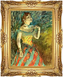 Edgar Degas The Singer In Green canvas with Majestic Gold frame