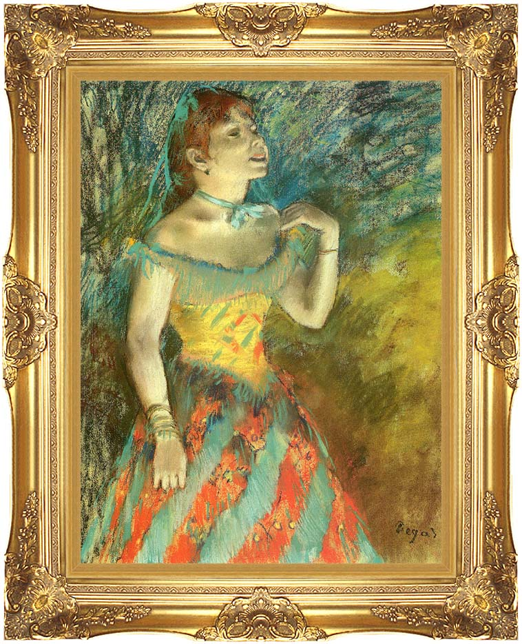 Edgar Degas The Singer in Green with Majestic Gold Frame