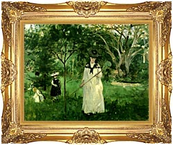 Berthe Morisot Chasing Butterflies canvas with Majestic Gold frame