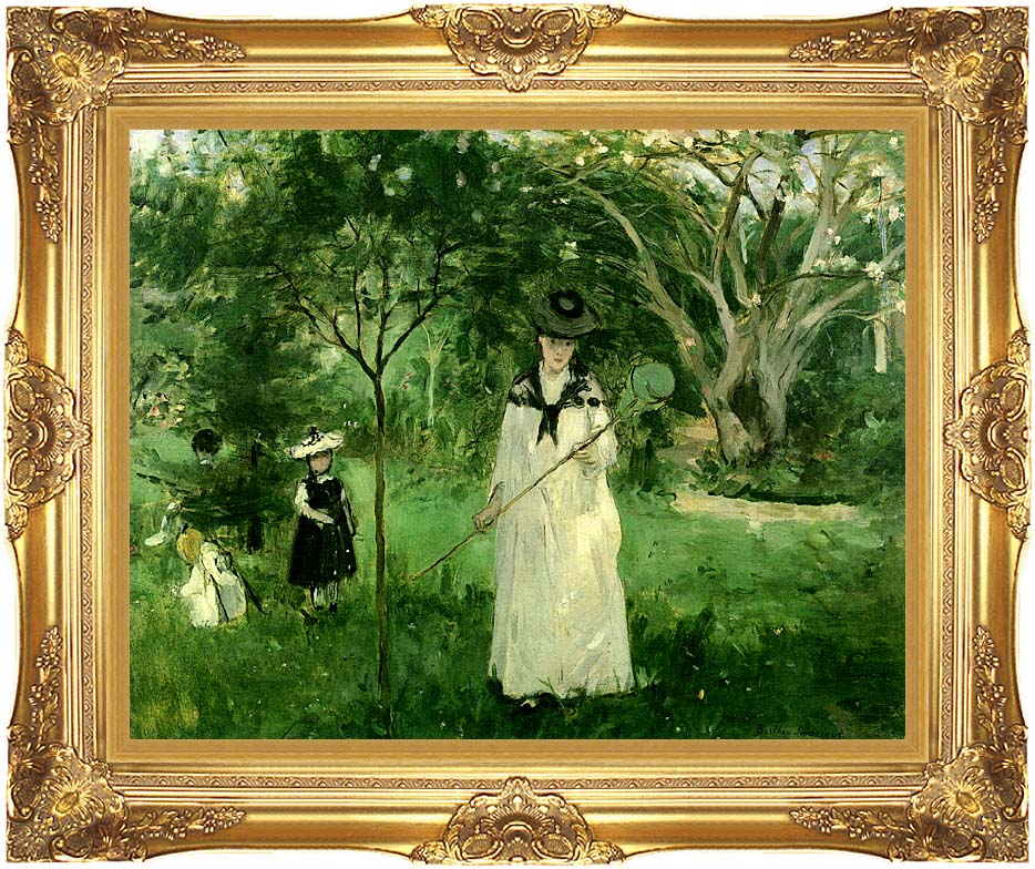 Berthe Morisot Chasing Butterflies with Majestic Gold Frame