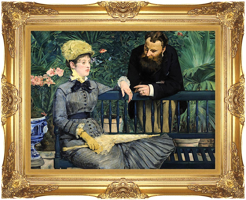 Edouard Manet In the Conservatory with Majestic Gold Frame