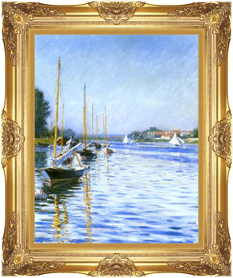 Gustave Caillebotte Boats on the Seine at Argenteuil with Majestic Gold Frame
