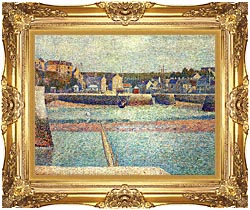 Georges Seurat Port En Bessin The Outer Harbor At Low Tide canvas with Majestic Gold frame