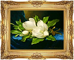 Martin Johnson Heade Magnolias On A Blue Velvet Cloth canvas with Majestic Gold frame