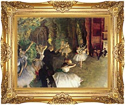 Edgar Degas Ballet Rehearsal On Stage canvas with Majestic Gold frame