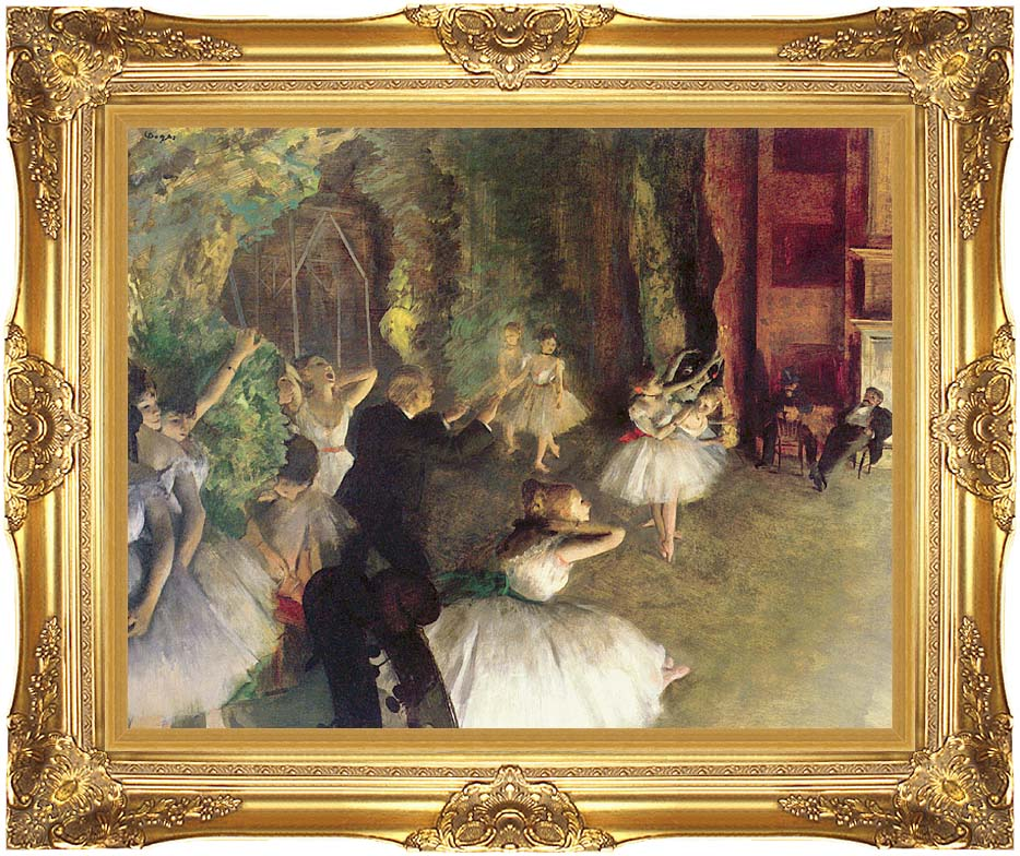 Edgar Degas Ballet Rehearsal on Stage with Majestic Gold Frame