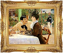 Edouard Manet In The Garden Restaurant Of Pere Lathuille canvas with Majestic Gold frame