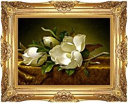 Martin Johnson Heade Magnolias On A Gold Velvet Cloth canvas with Majestic Gold frame