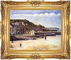 Georges Seurat Port En Bessin canvas with Majestic Gold frame