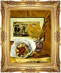 Pierre Auguste Renoir Still Life With Bouquet canvas with Majestic Gold frame