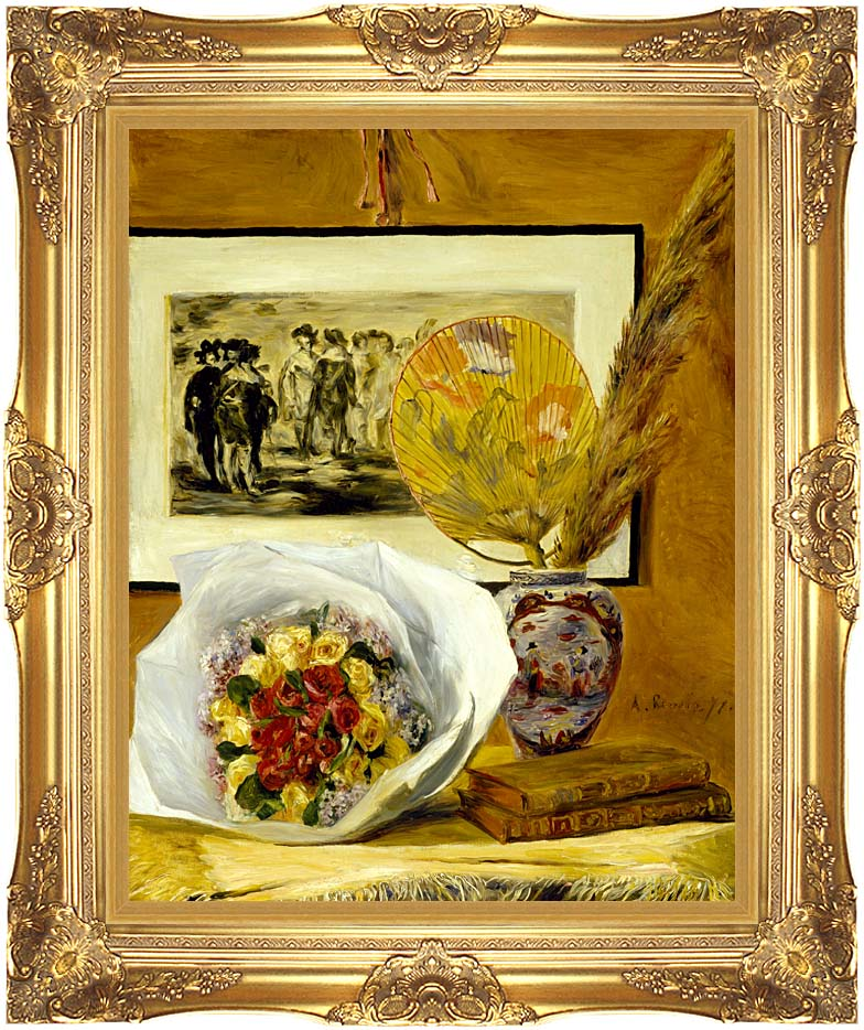 Pierre Auguste Renoir Still Life with Bouquet with Majestic Gold Frame