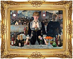 Edouard Manet A Bar At The Folies Bergere canvas with Majestic Gold frame