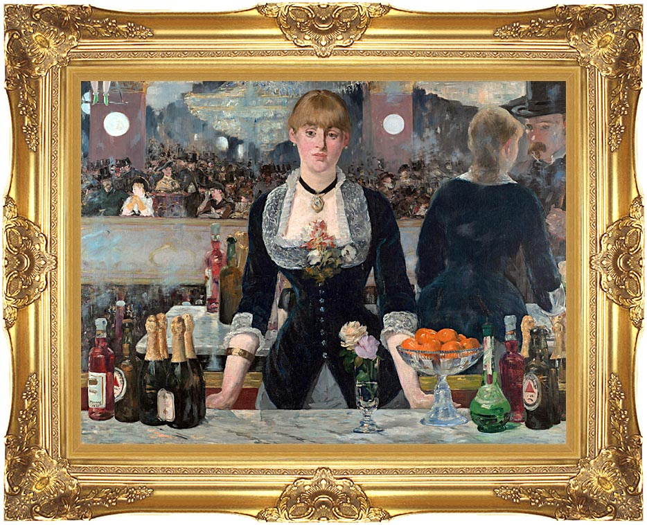 Edouard Manet A Bar at the Folies-Bergere with Majestic Gold Frame