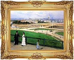 Berthe Morisot View Of Paris From The Trocadero canvas with Majestic Gold frame