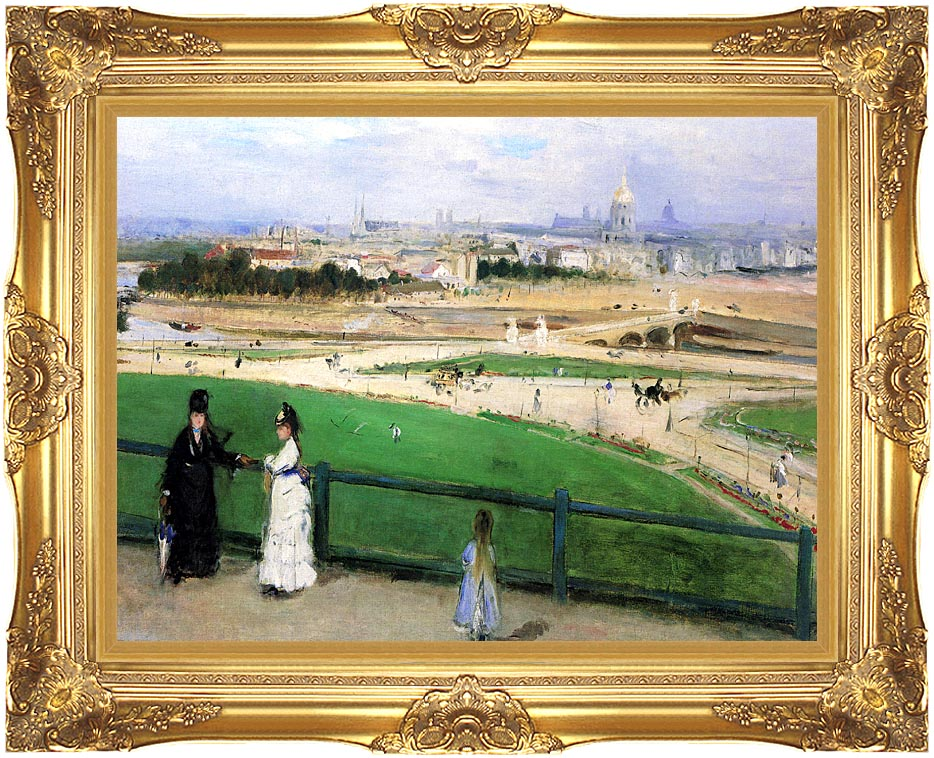 Berthe Morisot View of Paris from the Trocadero with Majestic Gold Frame
