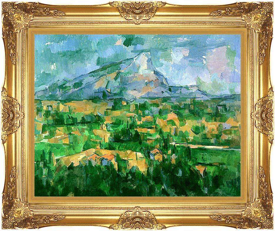 Paul Cezanne Mont Sainte-Victoire 1904 with Majestic Gold Frame