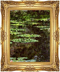 Claude Monet Water Lilies 1904 Portrait Detail canvas with Majestic Gold frame