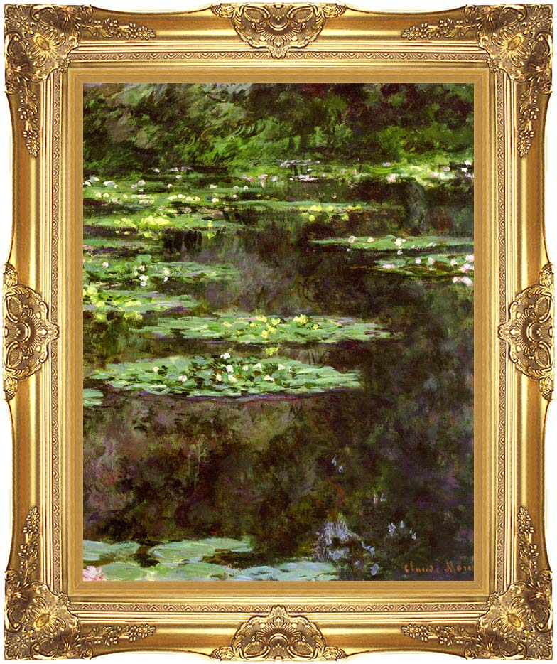 Claude Monet Water-Lilies 1904 (portrait detail) with Majestic Gold Frame