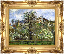 Camille Pissarro Kitchen Garden And Flowering Trees Spring Pontoise canvas with Majestic Gold frame