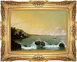 Martin Johnson Heade Rio De Janeiro Bay Left Detail canvas with Majestic Gold frame