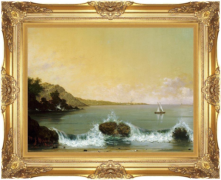Martin Johnson Heade Rio de Janeiro Bay (left detail) with Majestic Gold Frame