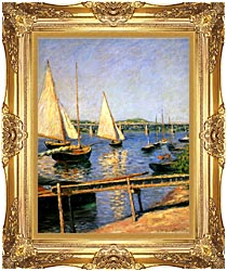 Gustave Caillebotte Sailing Boats At Argenteuil canvas with Majestic Gold frame