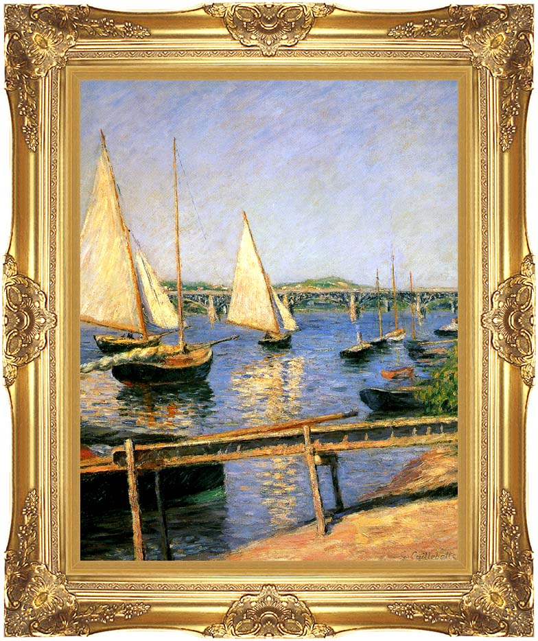 Gustave Caillebotte Sailing Boats at Argenteuil with Majestic Gold Frame