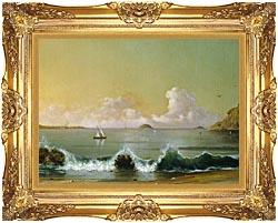 Martin Johnson Heade Rio De Janeiro Bay Right Detail canvas with Majestic Gold frame
