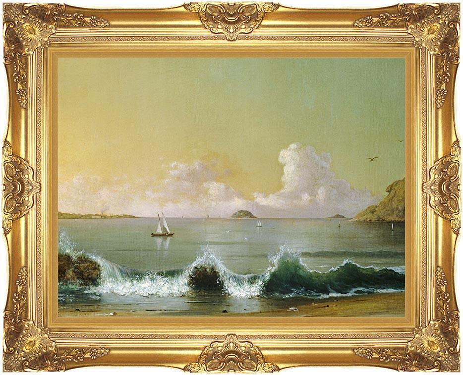 Martin Johnson Heade Rio de Janeiro Bay (right detail) with Majestic Gold Frame