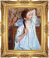 Mary Cassatt Girl Arranging Her Hair canvas with Majestic Gold frame