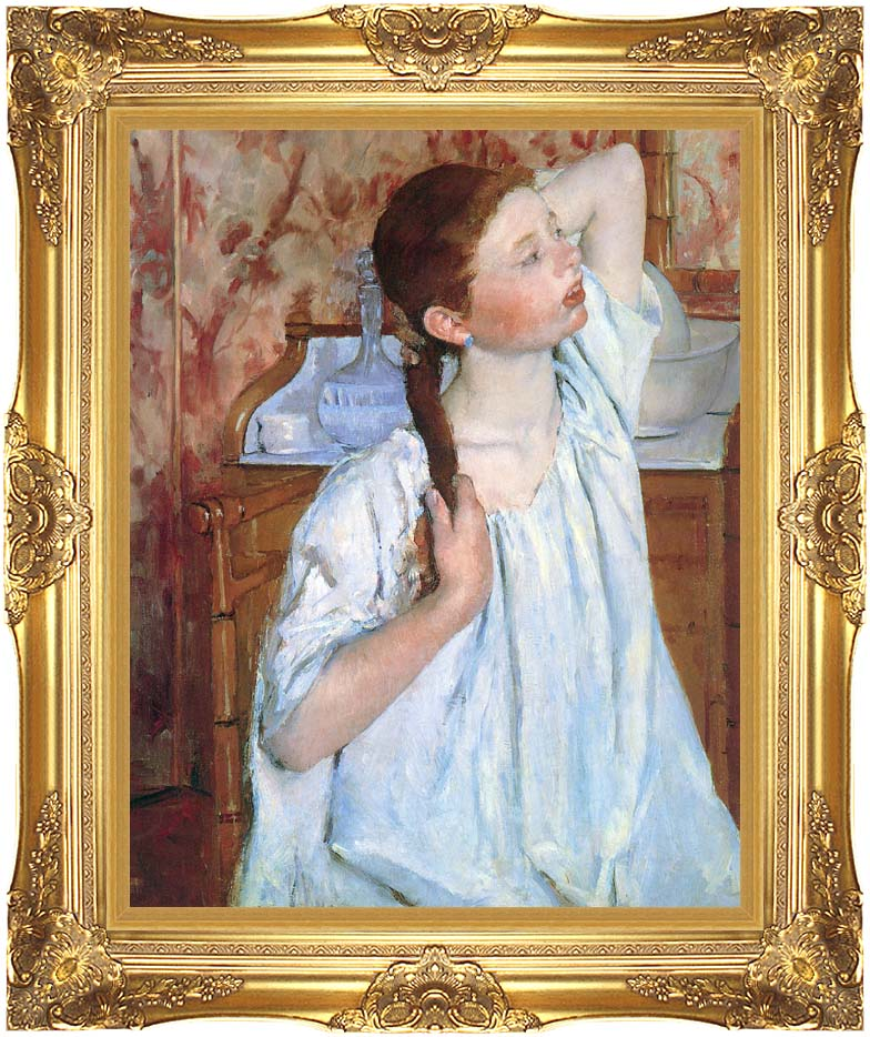 Mary Cassatt Girl Arranging Her Hair with Majestic Gold Frame