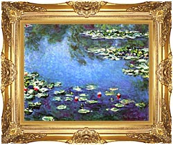 Claude Monet Water Lilies 1906 Detail canvas with Majestic Gold frame