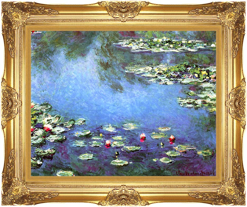 Claude Monet Water Lilies 1906 (detail) with Majestic Gold Frame