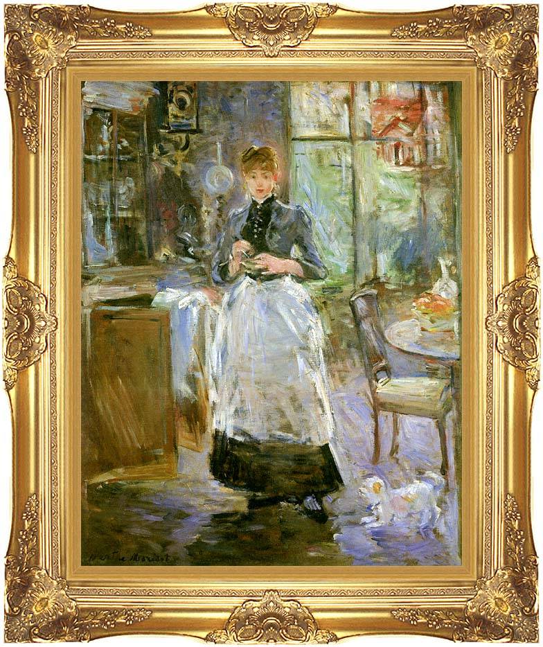 Berthe Morisot In the Dining Room with Majestic Gold Frame