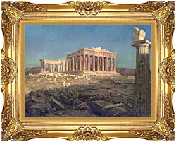Frederic Edwin Church The Parthenon Detail canvas with Majestic Gold frame