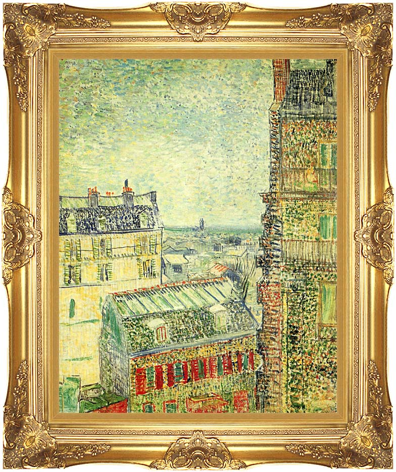 Vincent van Gogh Paris Seen from Vincent's Room in the Rue Lepic with Majestic Gold Frame