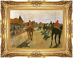 Edgar Degas Racehorses Before The Stands canvas with Majestic Gold frame