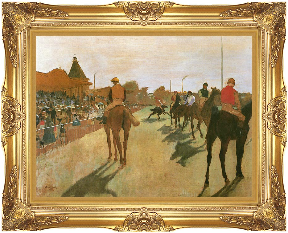 Edgar Degas Racehorses Before the Stands with Majestic Gold Frame